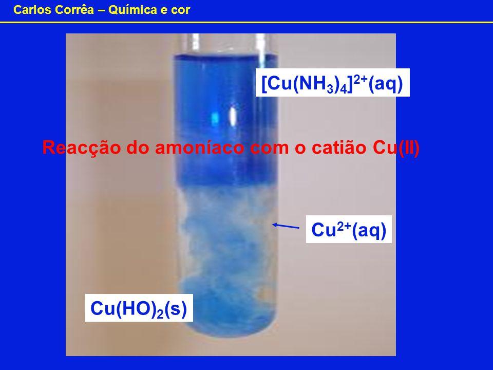 [Cu(NH3)4]2+(aq) Reacção do amoníaco com o catião Cu(II) Cu2+(aq) Cu(HO)2(s)